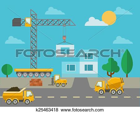 Clip Art of Construction process with construction machines and.