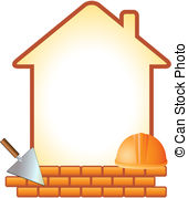 Clipart of Brick with trowel for construction, erection of.