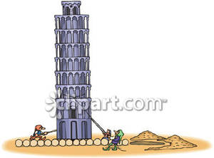 Men Trying To Erect the Leaning Tower of Pisa.
