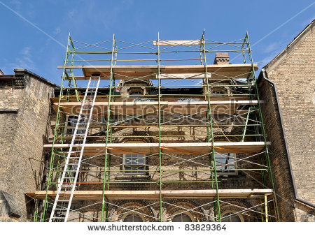 Scaffold Erected For Reconstruction Of College Building Stock.