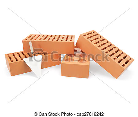 Drawing of Brick with trowel for construction, erection of.