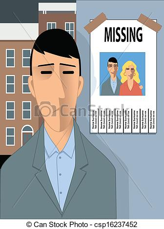 Clipart Vector of Missing happiness.
