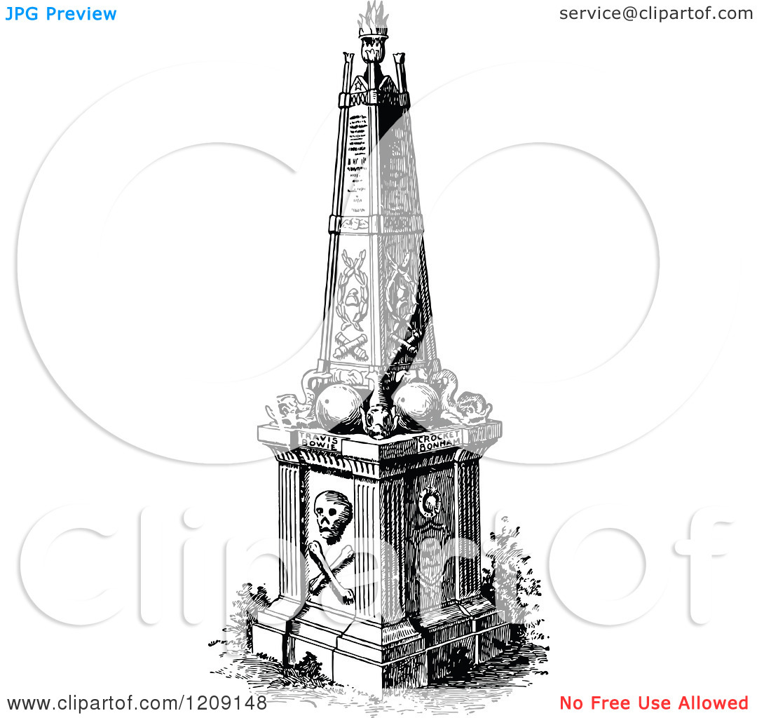 Clipart of a Vintage Black and White Monument Erected to the.