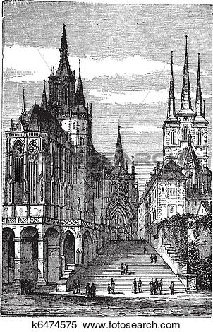Clipart of Erfurt Cathedral in Thuringia, Germany, vintage.