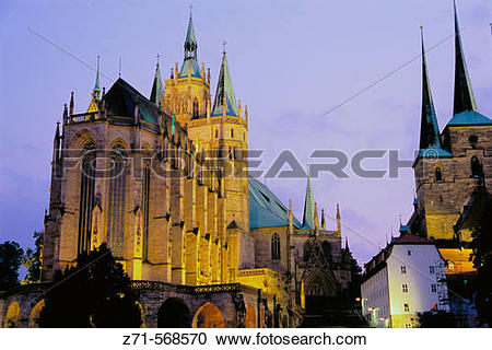 Stock Photography of Dom (cathedral), Erfurt. Thuringia, Germany.