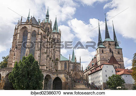 "Stock Photography of ""Cathedral and Church of St. Severus, Erfurt."