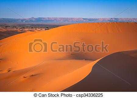 Stock Photo of Desert dune at Erg Chebbi near Merzouga in Morocco.