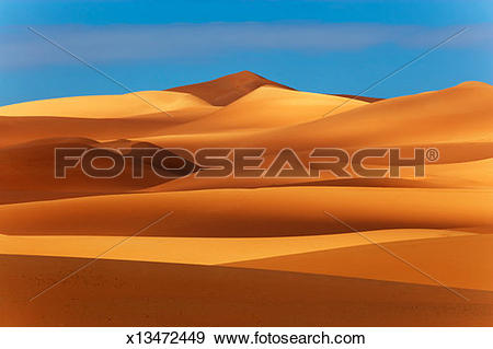 Stock Photograph of 'Africa, Libya, Sahara, Erg Ubari, Sand dunes.