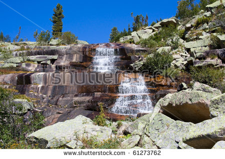 Mountain Landscape. Waterfall Mramorniy (Marble). Siberian Natural.