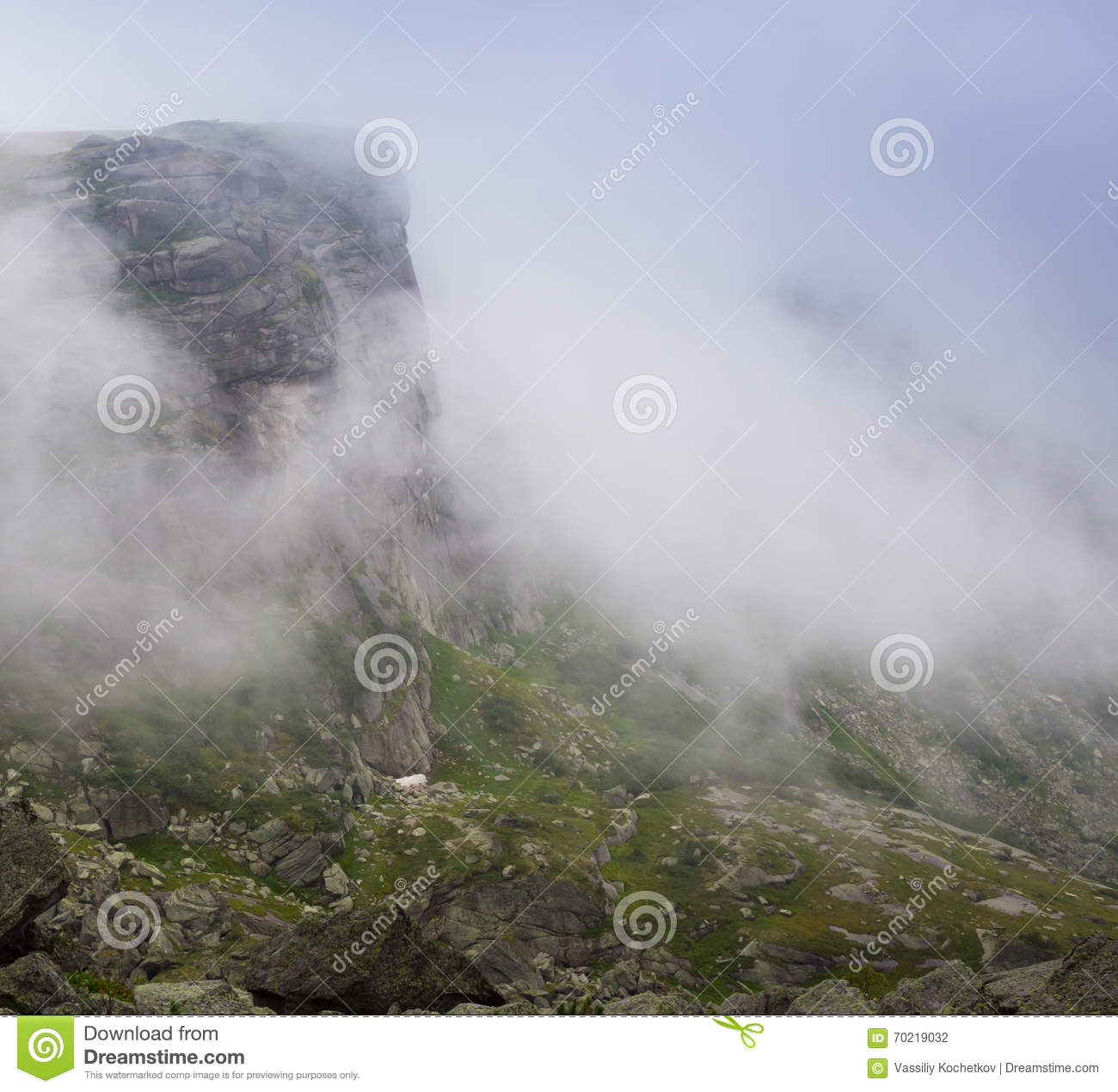 Mountain Fog In Ergaki National Park, Russia Stock Photo.