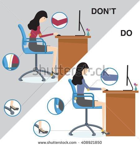 Ergonomic work practices clipart.