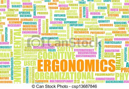 Drawing of Ergonomics Science and Study Human Factor Concept.