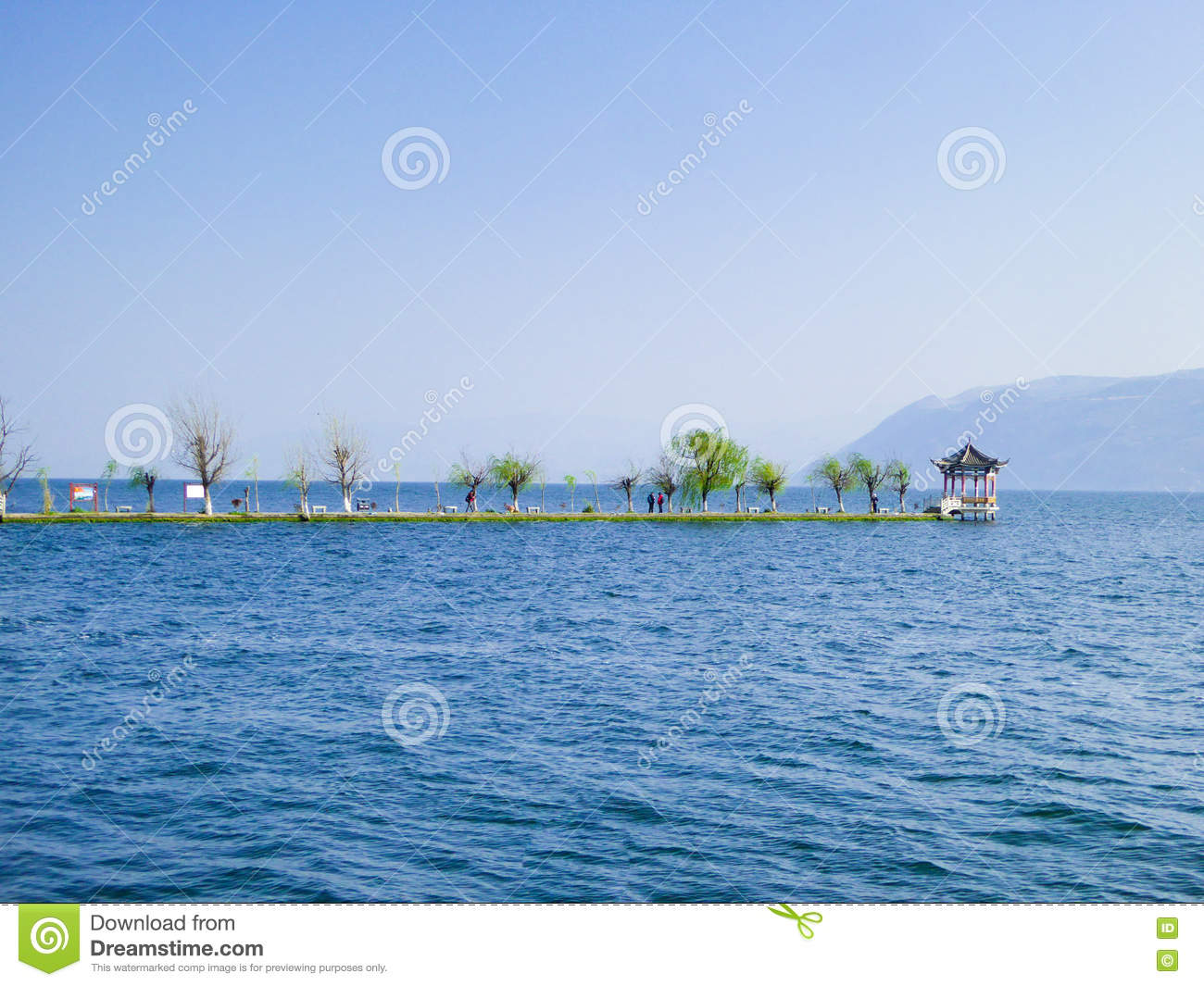 Pavilion On Erhai Lake Stock Photo.