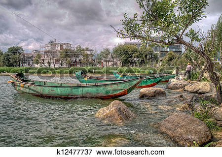 Picture of Green Chinese Boats on Erhai Lake in Dali China.