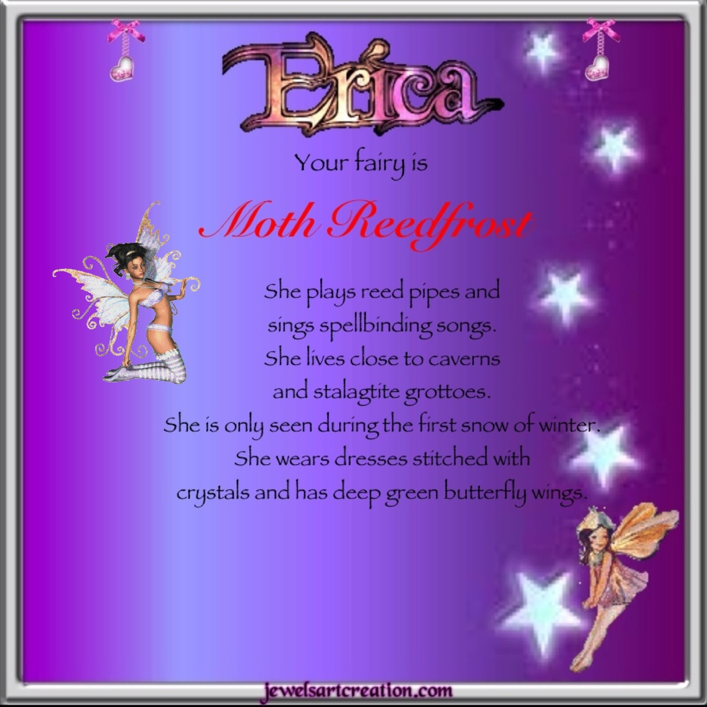 Erica Fairy Name ~ Jewels Art Creation.