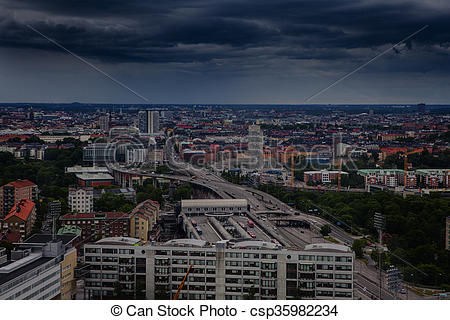 Stock Photos of Aerial view of Stockholm captured from Ericsson.