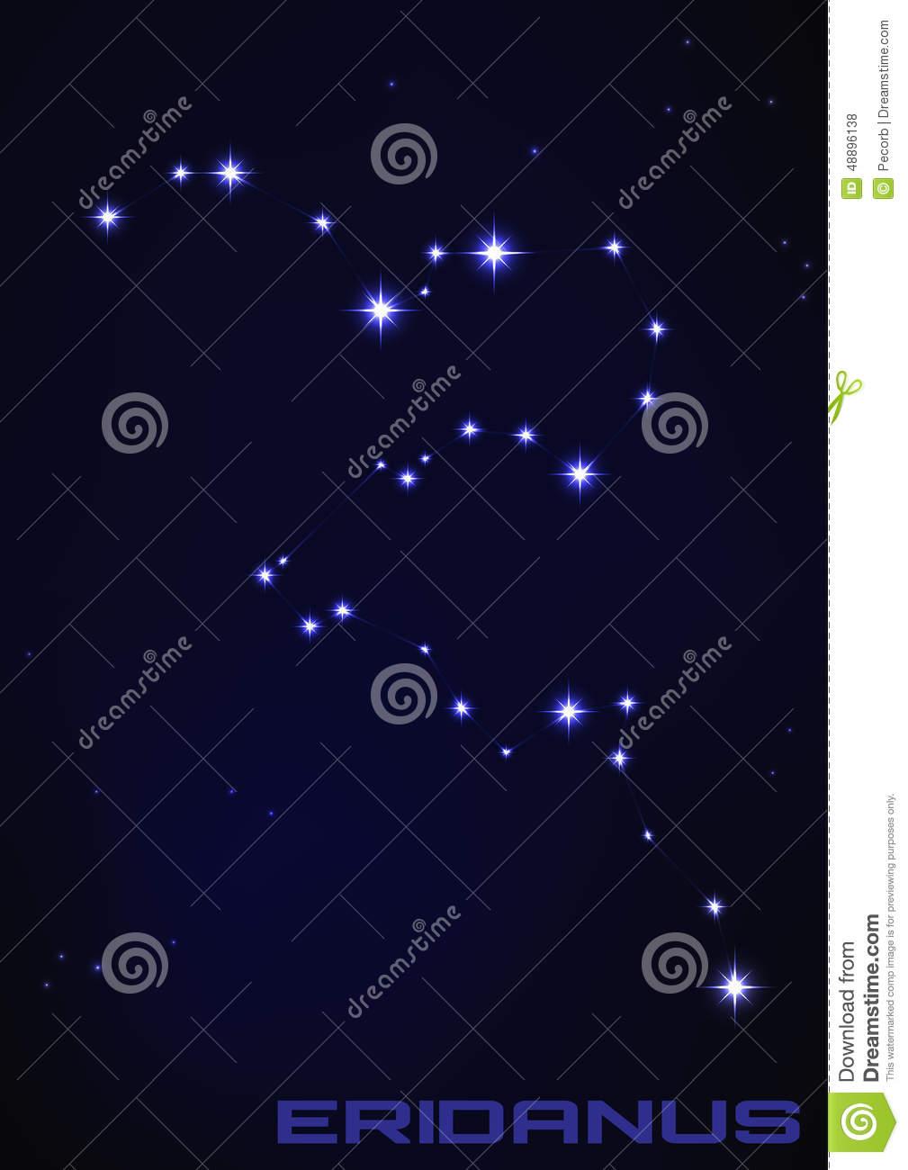 Eridanus Constellation Stock Vector.