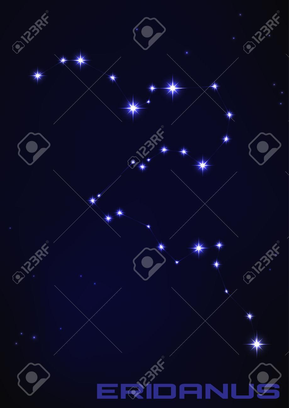 Vector Illustration Of Eridanus Constellation In Blue Royalty Free.
