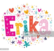 Erika Girls Name Decorative Lettering Type Design stock vectors.