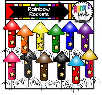 Rainbow Rockets Clipart (Erin\'s Ink Clipart).