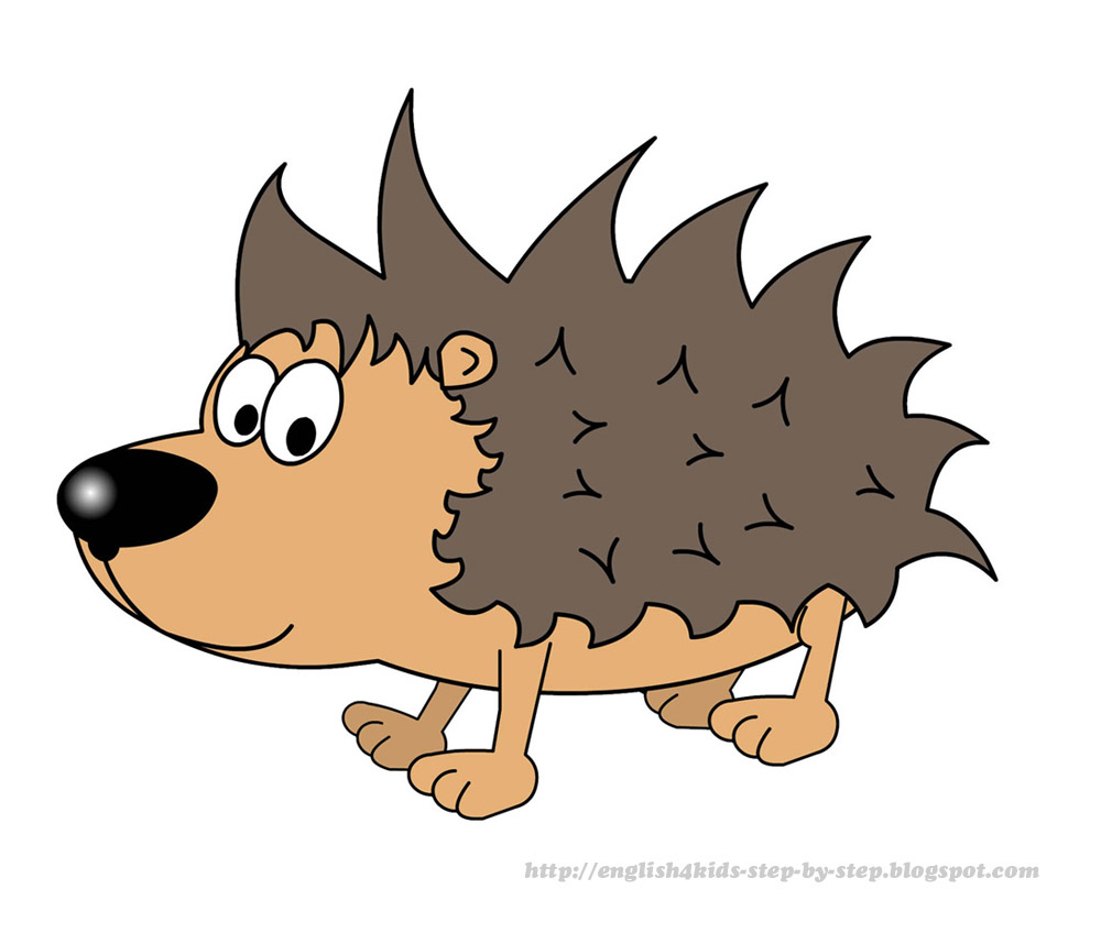 cute cartoon hedgehog clip art for learning english.