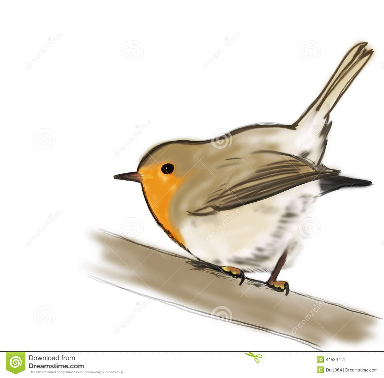 Sketch Robin On Branch Isolated On White Stock Illustration.