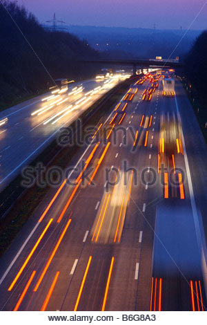 Germany, Traffic Jam On Highway A2 Stock Photo, Royalty Free Image.