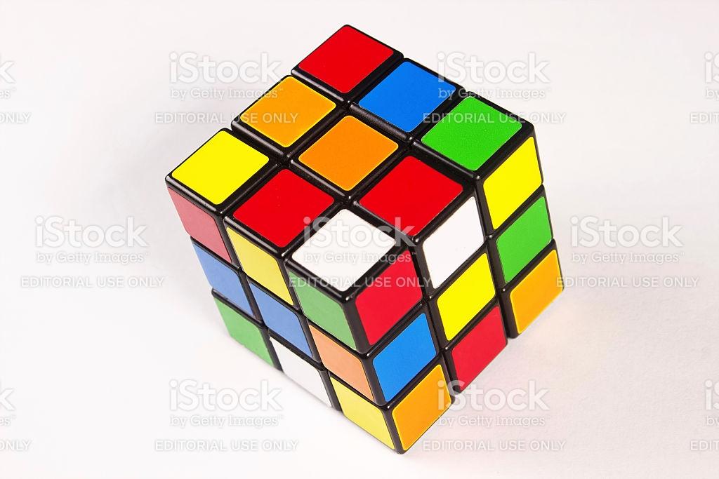 Rubiks Cube On White Background stock photo 471582885.