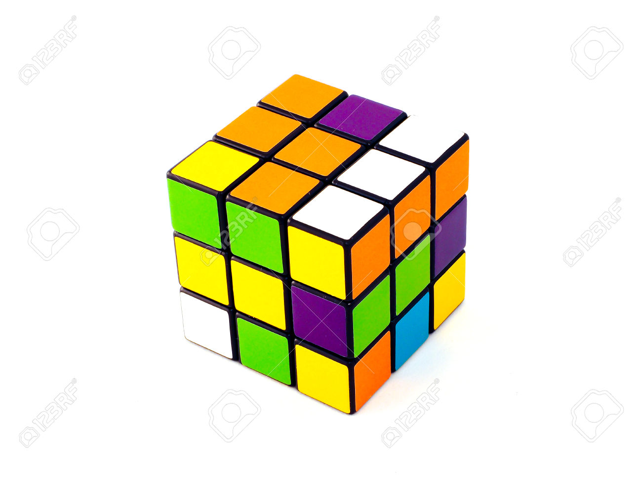 Rubik's Cube With Unusual Colors On White Background. It Was.
