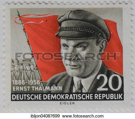 Stock Photograph of Ernst Thalmann, portrait on a stamp, GDR, 1956.
