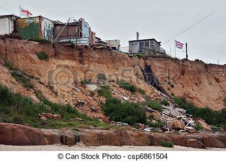 Stock Photo of Coastal erosion at Happisburgh Norfolk csp6861504.