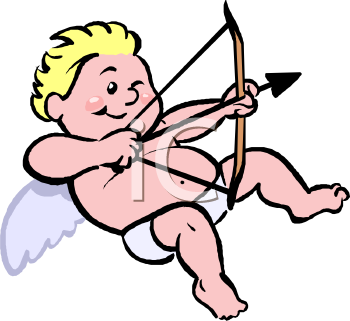 Valentine Cupid Shooting His Bow.