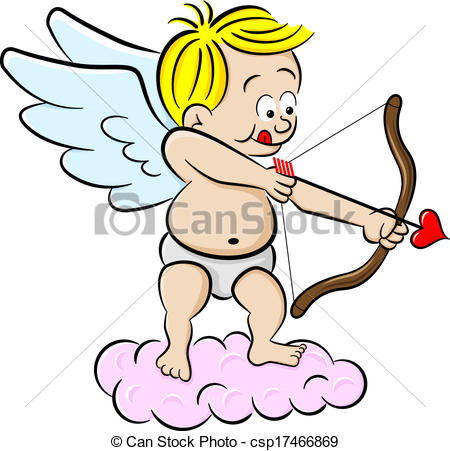 Clip Art Vector of cupid with bow and arrow.