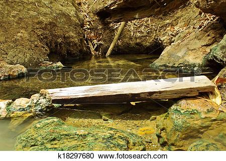 Stock Photography of Clear water from hot spring hole for take a.