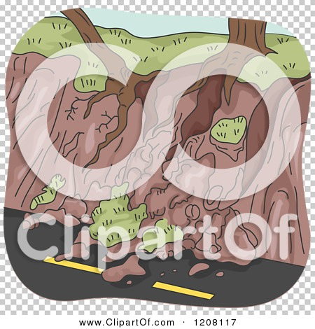 Cartoon of a Landslide Erosion with Exposed Tree Roots over a Road.