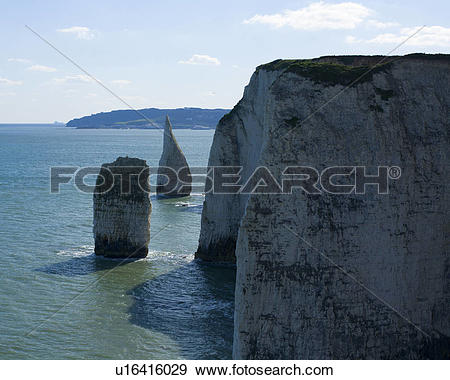 Stock Photograph of England, Dorset, Swanage. The Pinnacles from.