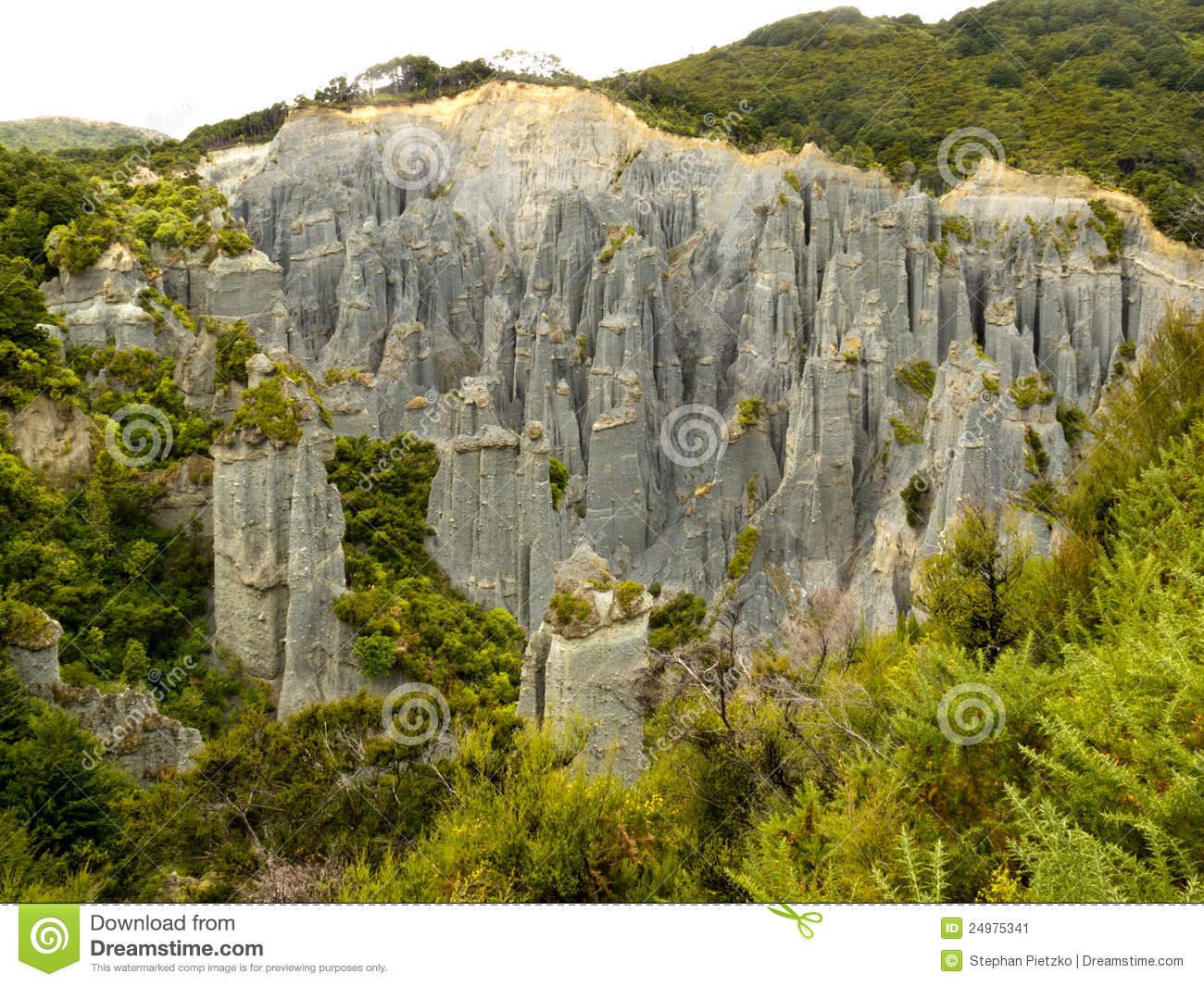 Badlands Hoodoos Of Putangirua Pinnacles, NZ Stock Image.