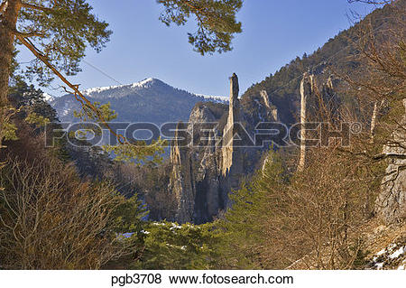 Pictures of Sucettes de Borne, formed by sharply folded rocks and.