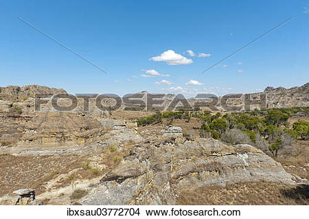 "Stock Photo of ""Dry and wide erosional landscape with rocks and."