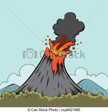 Stock Illustration of Erupting cartoon volcano.