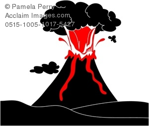 Clip Art Image of an Erupting Volcano Silhouette.