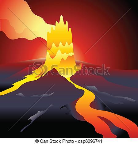 Vector Clip Art of Volcano eruption over night burning sky.