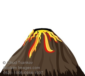 Exploding volcano clipart.