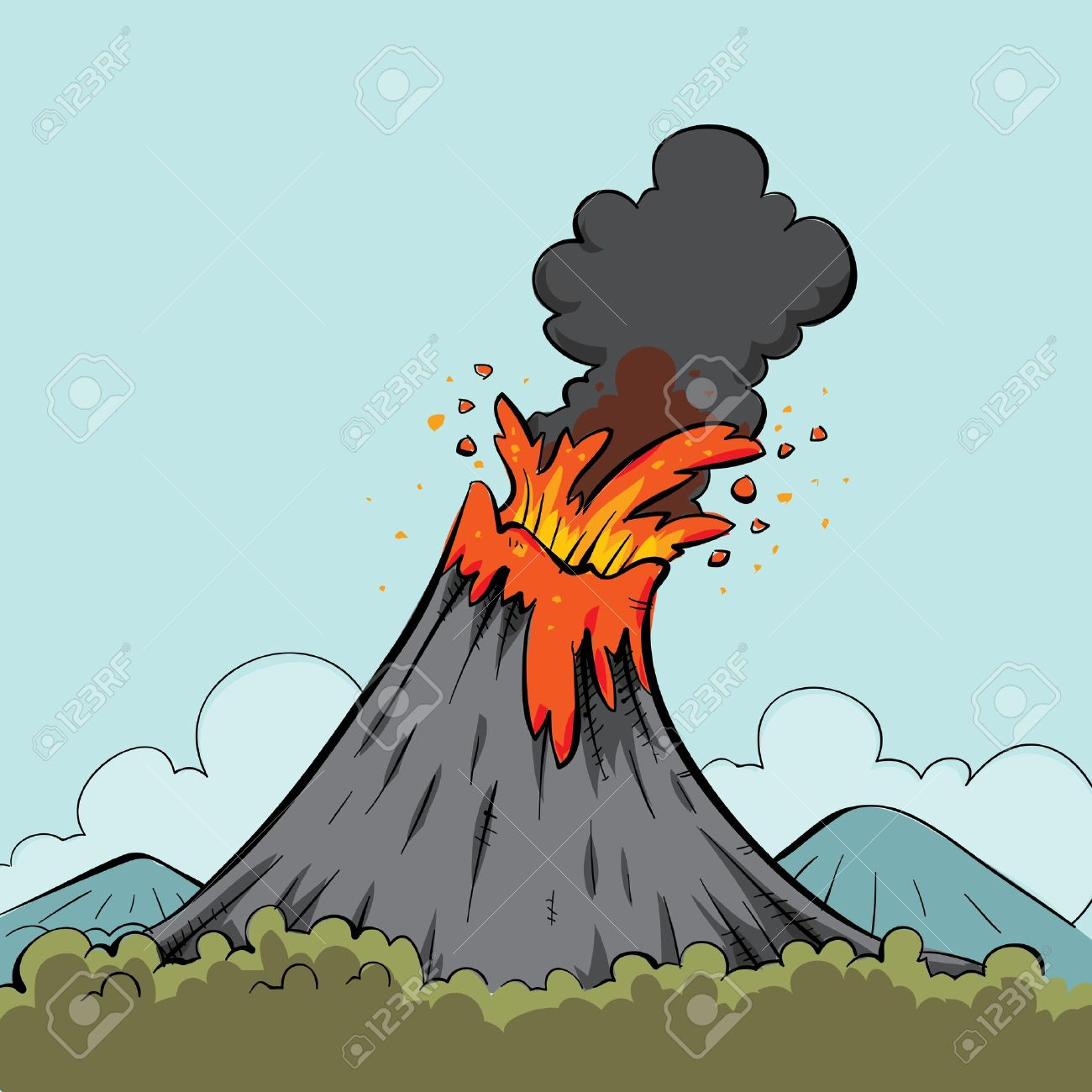 Lava Spews From The Mouth Of A Cartoon Volcano. Stock Photo.