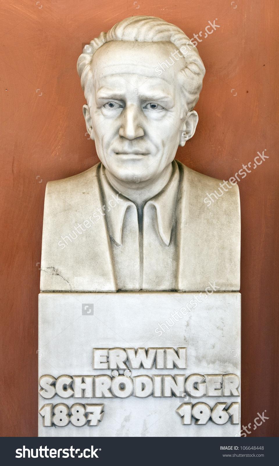 Statue Physicist Erwin Schrodinger Vienna University Stock Photo.
