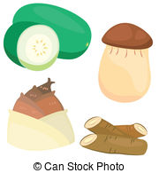 Eryngii mushroom Clip Art Vector and Illustration. 2 Eryngii.