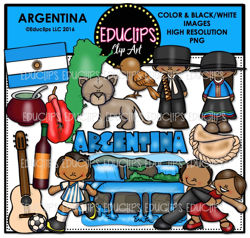 Argentina Clip Art Bundle (Color and B&W).