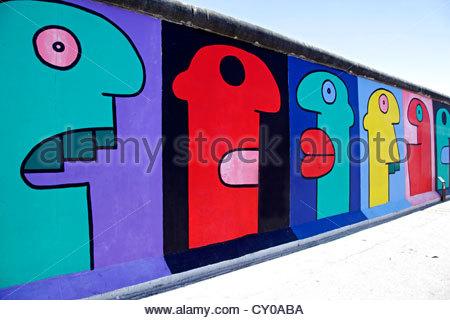 Remainder Of The Berlin Wall, East Side Gallery, Berlin Stock.