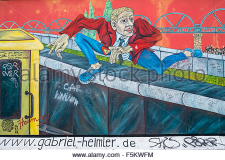 Artwork On The Berlin Wall At The East Side Gallery Depicting A.