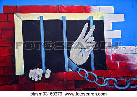 """Stock Images of """"Chained hand making a peace sign, jail, graffiti."""